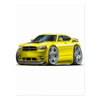 Dodge Charger Daytona Yellow Car Postcards