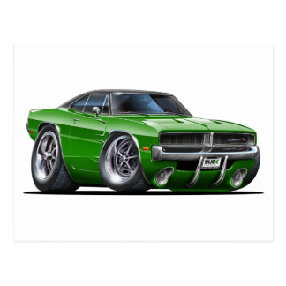Dodge Charger Green Car Postcard