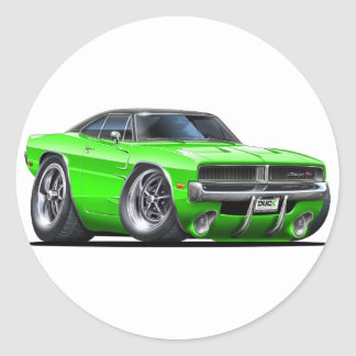 Dodge Charger Lime Car Round Sticker