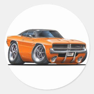 Dodge Charger Orange Car Classic Round Sticker