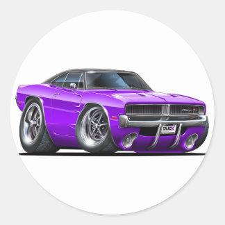 Dodge Charger Purple Car Round Sticker