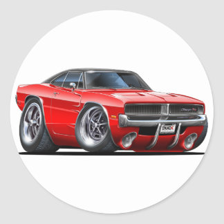 Dodge Charger Red Car Classic Round Sticker