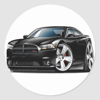 Dodge Charger RT Black Car Round Sticker