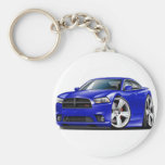 Dodge Charger RT Blue Car Basic Round Button Key Ring