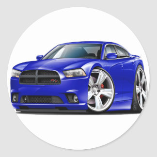 Dodge Charger RT Blue Car Classic Round Sticker