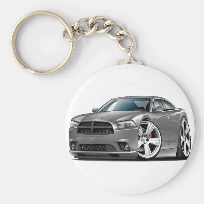 Dodge Charger RT Grey Car Basic Round Button Key Ring