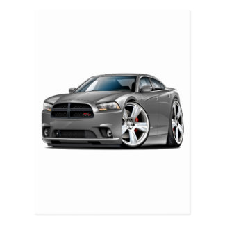 Dodge Charger RT Grey Car Post Cards