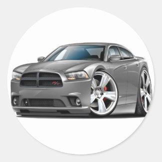 Dodge Charger RT Grey Car Round Sticker