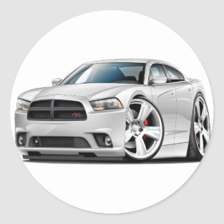 Dodge Charger RT White Car Round Sticker