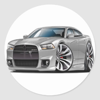 Dodge Charger SRT8 Silver Car Round Sticker