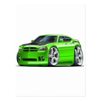 Dodge Charger Super Bee Green Car Postcards