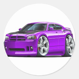 Dodge Charger Super Bee Purple Car Round Sticker