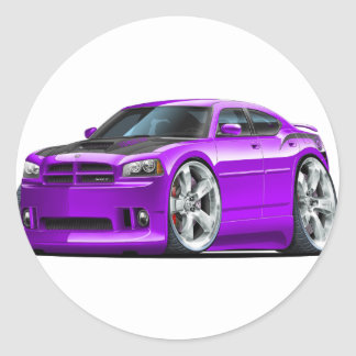 Dodge Charger Super Bee Purple Car Round Stickers