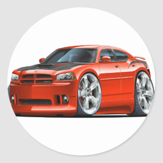 Dodge Charger Super Bee Red Car Round Sticker