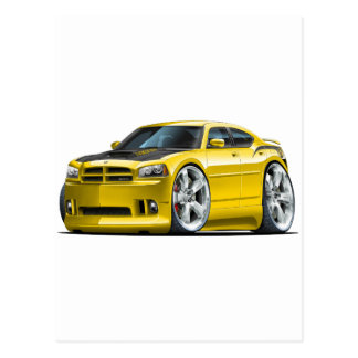 Dodge Charger Super Bee Yellow Car Postcard