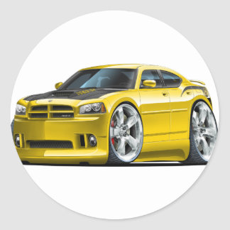 Dodge Charger Super Bee Yellow Car Round Sticker