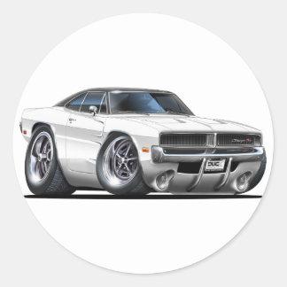 Dodge Charger White Car Round Sticker