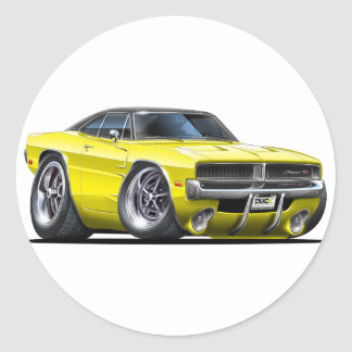 Dodge Charger Yellow Car Classic Round Sticker