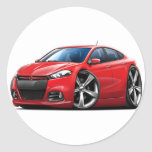 Dodge Dart Red-Black Grill Car Round Stickers