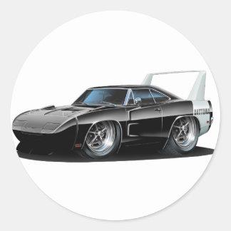Dodge Daytona Black Car Round Sticker