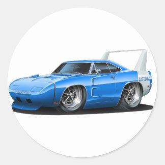 Dodge Daytona Blue Car Round Sticker