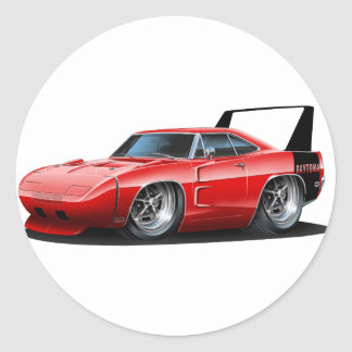 Dodge Daytona Red Car Round Sticker