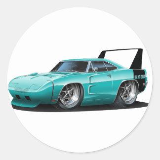 Dodge Daytona Teal Car Round Sticker