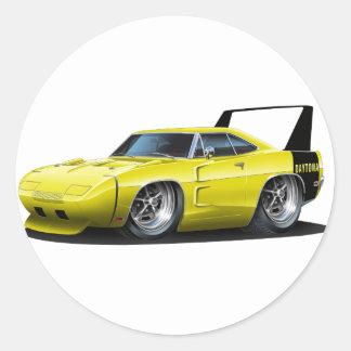 Dodge Daytona Yellow Car Round Sticker