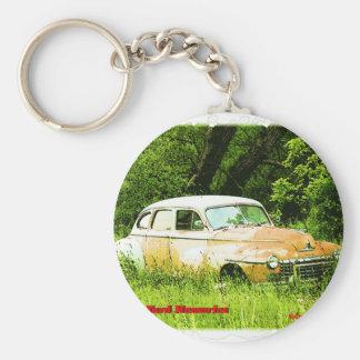 Dodge Junk Yard Car Basic Round Button Key Ring