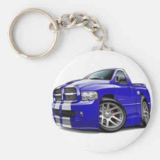 Dodge SRT10 Ram Blue-White Truck Basic Round Button Key Ring