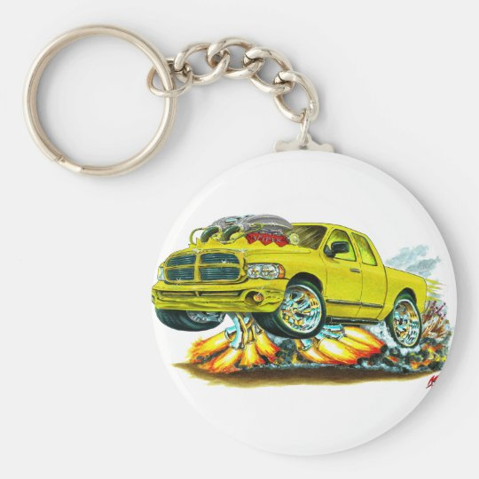 Dodge SRT10 Yellow Extended Cab Truck Basic Round Button Key Ring