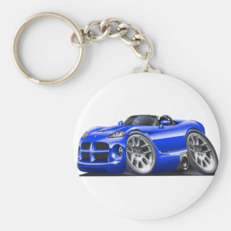 Dodge Viper Roadster Blue Car Basic Round Button Key Ring