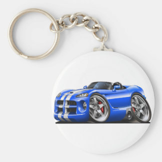 Dodge Viper Roadster Blue-White Car Basic Round Button Key Ring