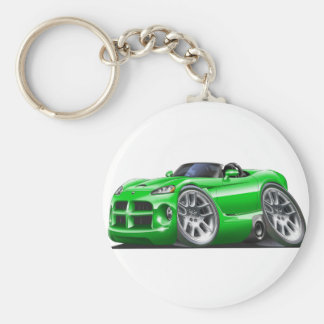 Dodge Viper Roadster Green Car Basic Round Button Key Ring