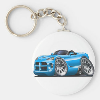 Dodge Viper Roadster Lt Blue Car Basic Round Button Key Ring