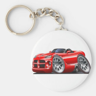 Dodge Viper Roadster Red Car Basic Round Button Key Ring