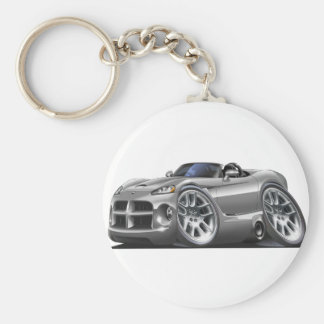 Dodge Viper Roadster Silver Car Basic Round Button Key Ring