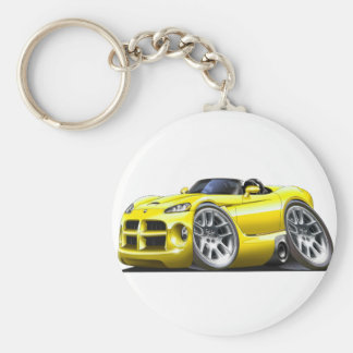 Dodge Viper Roadster Yellow Car Basic Round Button Key Ring