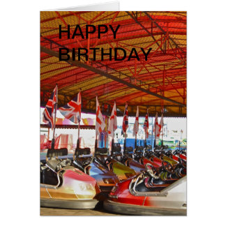 Dodgem Car Funfair Ride  HAPPY BIRTHDAY Card