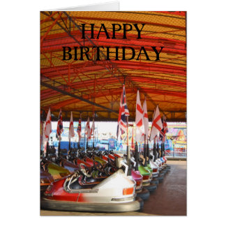 Dodgem Cars at a Funfair  HAPPYBIRTHDAY Card