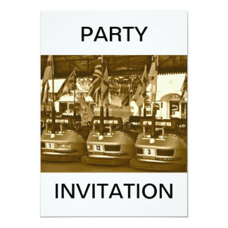 Dodgem Cars in Sepia Party Invitation