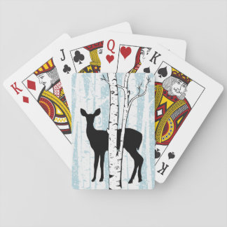 Doe a Deer in Birch Forest Playing Cards