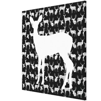 Doe a Deer on Black Wrapped Canvas Stretched Canvas Prints