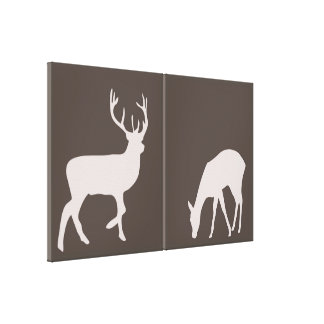 Doe and Buck Deer Couple Woodland Forest Canvas Gallery Wrapped Canvas