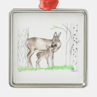 Doe and Fawn Christmas Ornament