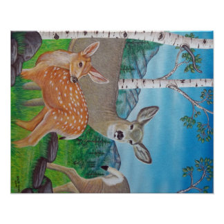 Doe and Fawn Painting Poster