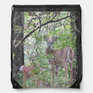 Doe and Her Fawn Drawstring Backpack