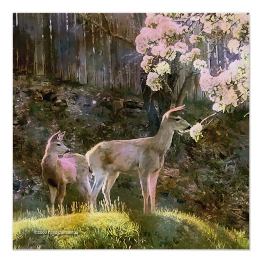Doe, Fawn and Pear Blossoms Poster