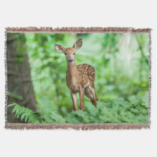 Doe In The Forest Throw Blanket
