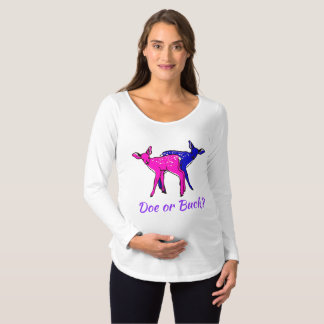 """Doe or Buck""  Western Style Gender Reveal Maternity T-Shirt"